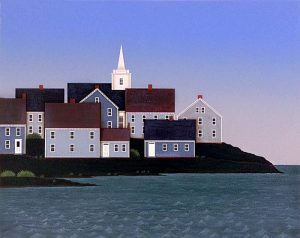 Ted Jeremenko - Bay Landscape print of houses and church steeple at waterfront