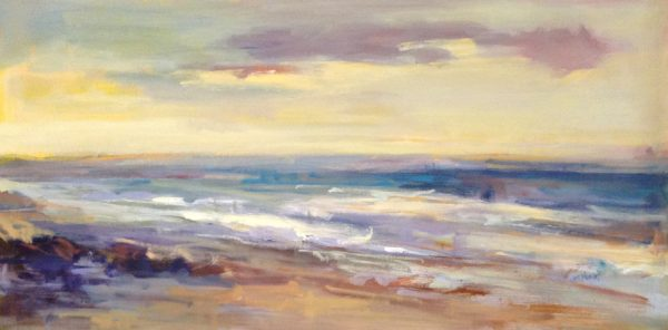 Trish Hurley Contemporary Seascape with Ocean Blue Sunset Sunrise Pinks Purples
