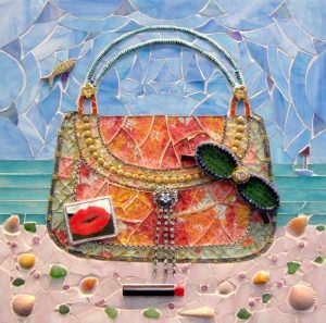 Lauren Mehrberg Mixed Media Mosaic of Purse Pocketbook Handbag Beach Bag with Sunglasses and Lipstick