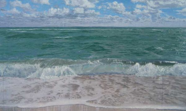 Contemporary ocean painting with waves