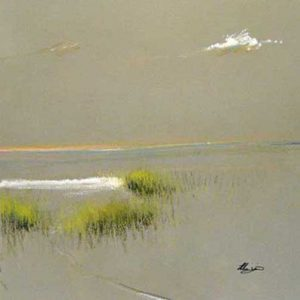 Helen Zarin - Beach Grass - minimalist painting of grass on a beach with a cloud