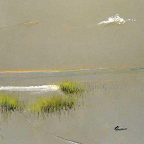 Helen Zarin - Beach Grass - minimalist painting of grass on a beach with a cloud