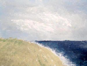 Leah Mitchell Tranquil Contemporary Beach Scene with Blue Water Beige Sand and Sage Grass