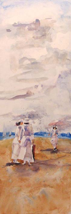 Pat Foster - watercolor painting of people walking on the beach