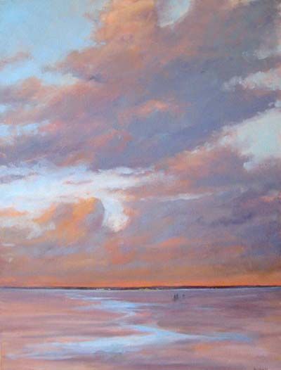 Mary Nolan Contemporary Seascape Painting with Sunset Horizon Reflecting on Ocean