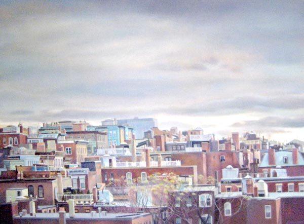 Barbara Johnson Realistic Traditional Oil Painting of Boston Beacon Hill Sky
