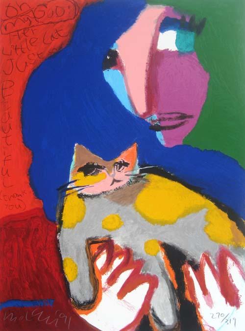 Michael Leu - Beautiful Cat (27x27.5 lithograph on paper)