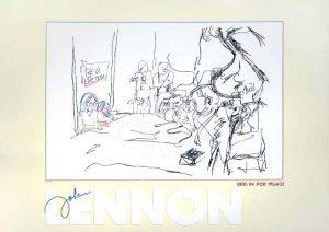 John Lennon Limited Edition Silkscreen Bed In For Peace Yoko Ono and John Lennon