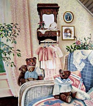 Susan Rios - Bedroom With Teddy Bears (20x18 serigraph on paper)