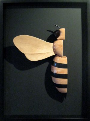 Daniel Jenkins Finished Wood Fine Art Wall Sculpture of Bumble Bee Framed