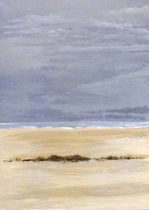 Tom Keenan Original Oil Painting on Canvas of Beach Sand Grass Seaweed Waves Blue Beige