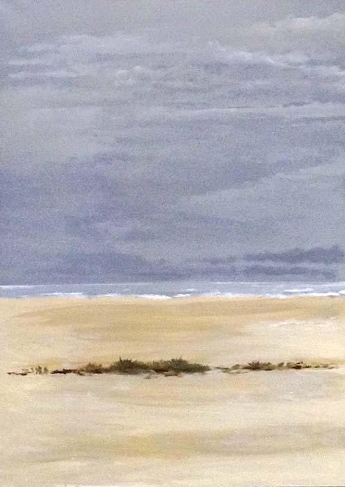Tom Keenan Original Oil Painting on Canvas of Beach Sand Grass Seaweed Waves Blue Beige