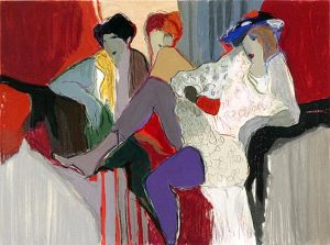 Itzchak Tarkay - Behind the Curtain print of three ladies lounging by red curtain