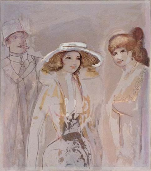 David Schneuer - Belle Femme print of two women and a man in 1920s period clothing