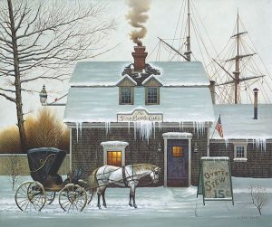 Charles Wysocki - Belly Warmers print of Americana harbor side cafe with oyster stew sign