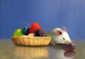 Stuart Dunkel Small Still life Painting of Mouse Eating a Fruit Tart Dessert