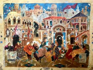 Roy Fairchild Limited Edition Serigraph on Canvas of Colorful Italian Street Scene