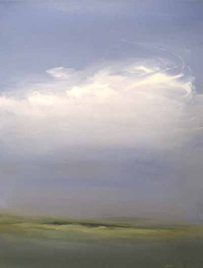 Dannielle Mick Seaside Green Marsh Scene with Soft White Clouds in a Big Sky