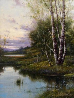 Fortunato Ornaghi Painting of birch trees next to pond