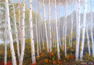 Phil Gidley Painting on Canvas of Birch Tree Forest with Autumn Hills