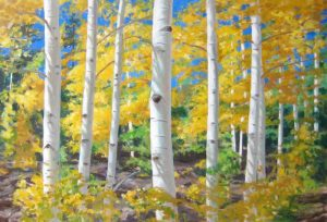 Lynne Adams Oil Painting on Canvas of White Birch Trees in Yellow Forest with Green and Blue Sky Colorado