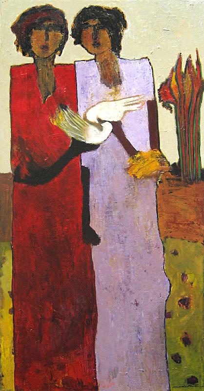 Goli Mahallati oil painting of two women holding birds