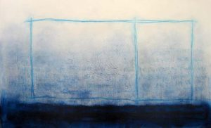 Anthony James Abstract Contemporary Painting in Blue with Greek Writing