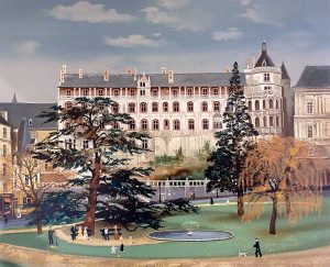 Michel Delacroix - Blois print of chateaux and park with people and water fountain