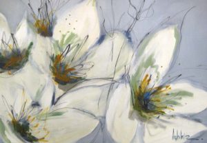 Angela Maritz Blooms White Flowers Floral Expressionist Painting Blue Green