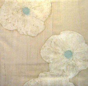 Peter Kuttner Abstract Oil Painting on Canvas of Flowers Blooming in Teal White and Beige