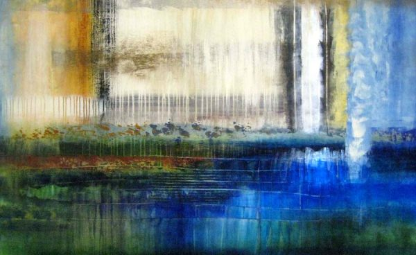 Josiane Childers Colorful Contemporary Abstract in Blue Yellow White and Green