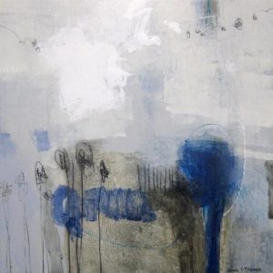 Ursula Brenner Contemporary Abstract Oil Painting in White Blue Black Gray