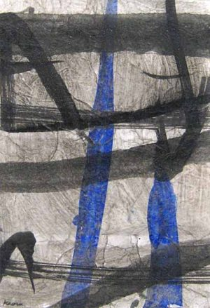 Kaoru Tsuzawa Asian Abstract Black White Blue and Gray Monoprint on Paper