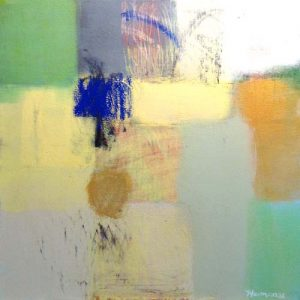 Ellen Hermanos Contemporary Abstract Square Oil Painting on Canvas in Green Gray Yellow and Blue