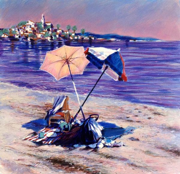 Aldo Luongo - Blue Coast print of two umbrellas and a chair on the beach
