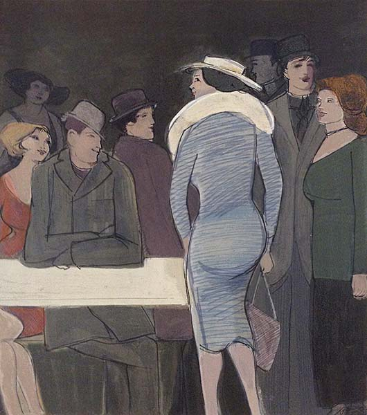 David Schneuer - Blue Dress print of men and women at table
