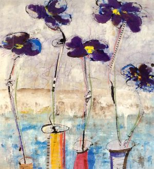 Helen Zarin Contemporary Abstract Blue Purple Flowers in Vases Still Life Color