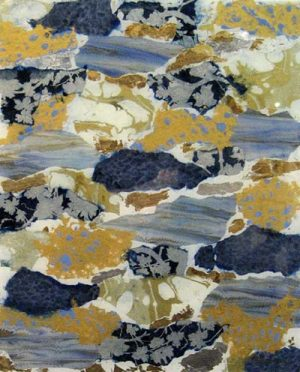 Connie Kolman Blue and Gold 20x16 mixed media on glass