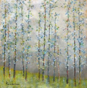 Jeff Koehn Oil Painting on Canvas of Green Blue Trees in Colorado Birches