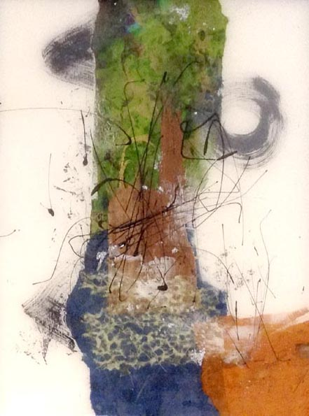Paul Tiersky Abstract Blue Green Orange White Resin Mixed Media