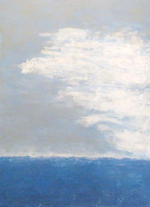 Leah Mitchell Blue Ocean with White Clouds and Horizon