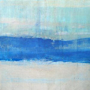 Peter Kuttner Oil Painting of Abstract Seascape with Blue Horizon Stripe