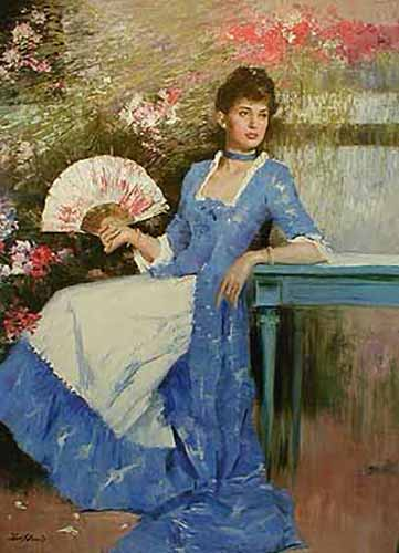 An He Hans Amis Blue Mood painting of seated girl with fan and old fashioned dress