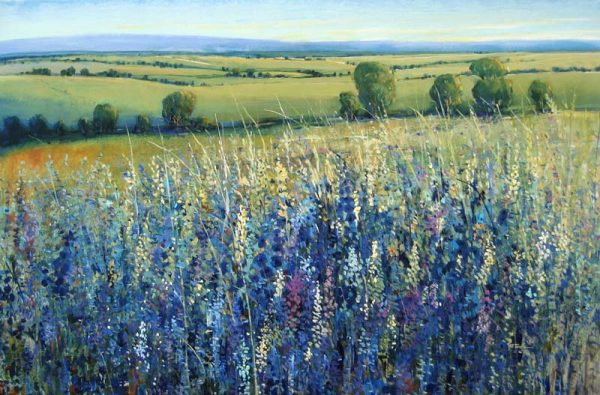 Timothy O'Toole Oil on Canvas with Blue Flowers