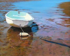 Robert Bolster Traditional Realistic Oil Painting of Boat in Shallows