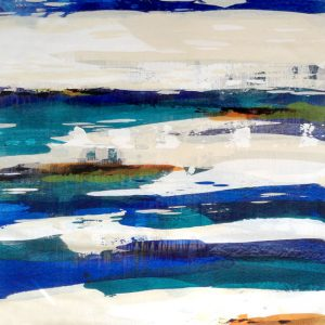 Dennis Smith Carney Contemporary Abstract Blue and White Stripes with Teal and Orange