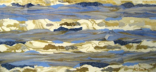 Connie Kolman Abstract Artisan Glass Collage with Gold and Blue