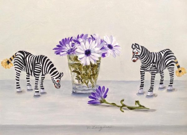 Patti Zeigler Oil Painting on Board of Two Zebra with Blue Purple White Flowers in Vase