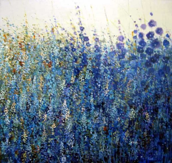 Timothy O'Toole Oil Painting on Canvas of Blue Wild Flower Field