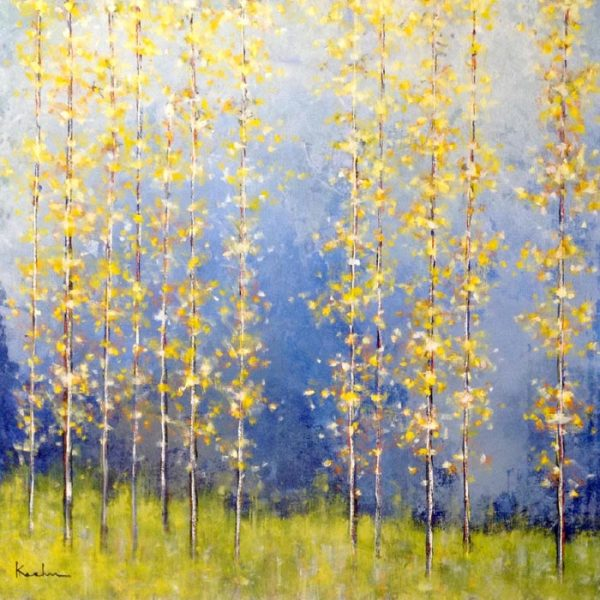 Jeff Koehn large painting of birch or aspen trees with blue and yellow